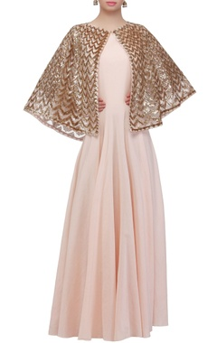 Blush pink gown with attached cape