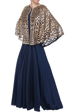Navy blue gown with attached cape