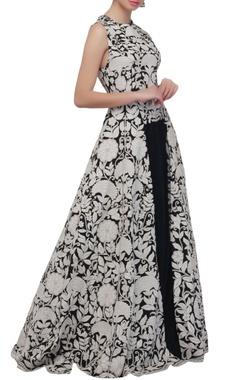 Navy blue & white front slit anarkali & skirt