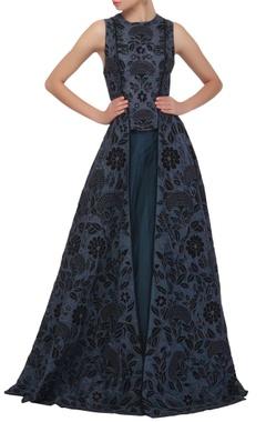 Midnight blue front slit anarkali & skirt