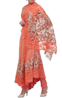 Coral blush applique kurta with cape & churidar