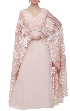 Baby pink gown with cape