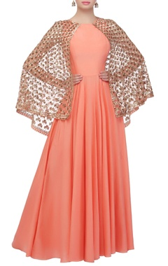 Coral blush gown with attached cape