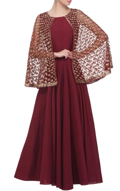 Wine gown with attached cape
