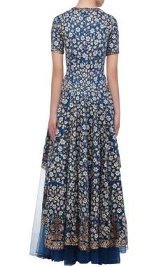 Teal floral anarkali dress