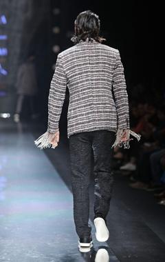 Black & white textured waistcoat