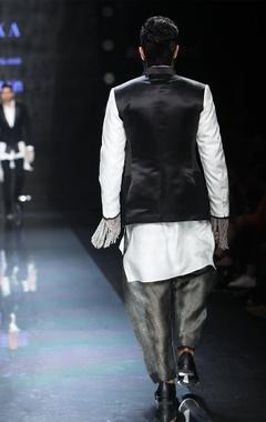 Grey, black & cream patchwork jacket