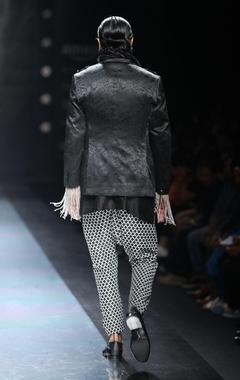 Black & white drop crotch trousers