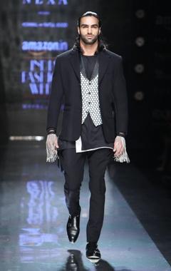 Black & cream textured waistcoat