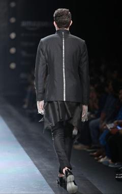 Black silk asymmetric shirt