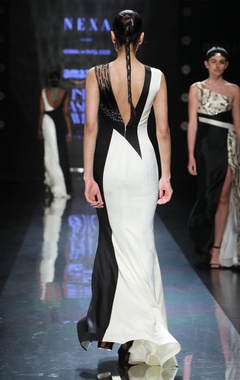 black & cream overlapping gown