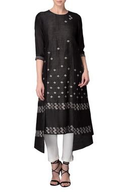 Black printed kurta with pants