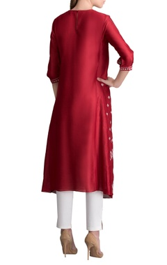 Red printed kurta with pants
