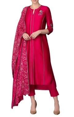 fuchsia pink & blue embroidered kurta set