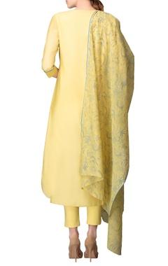 Lime yellow & blue embroidered kurta set