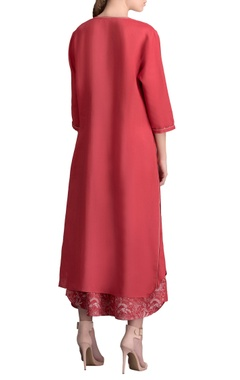Red front slit kurta with printed palazzos