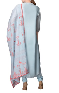 Pastel blue kurta with churidar & dupatta