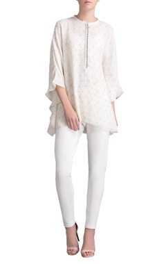 Ivory printed cape tunic