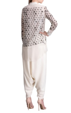 Ivory elephant print shirt