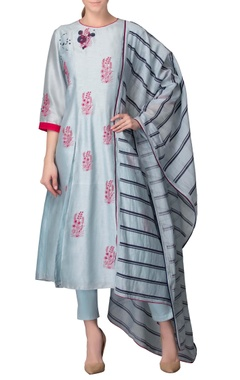 Powder blue kurta set with pink thread work
