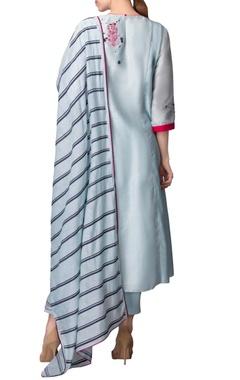 Powder blue kurta set with pink thread work
