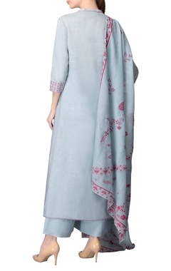 Powder blue asymmetric kurta set with pink work