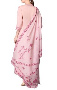 Light pink asymmetric kurta set with pink work