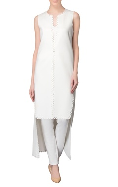 White high low hem kurta with pants