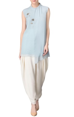 powder blue tunic with sequin embellishments