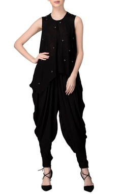 black sleeveless mirror work tunic