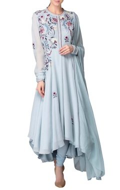Powder blue kurta set with embroidery