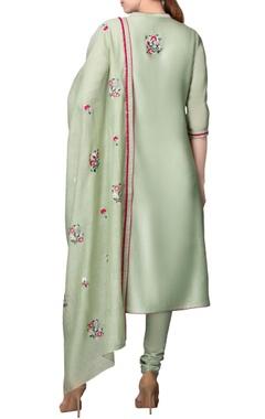 Apple green kurta set with embroidery