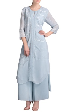 Powder blue tunic set with sequin embellishments
