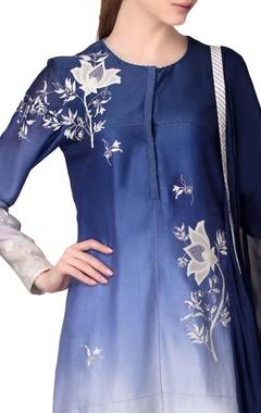 Ivory & indigo embroidered kurta set
