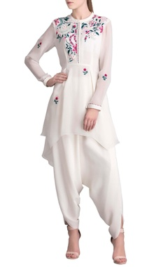 Ivory floral embroidered long shirt