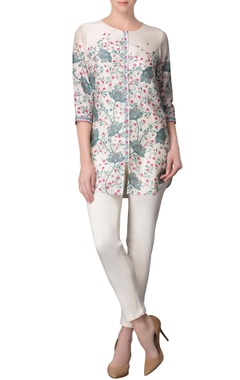 ivory floral print tunic