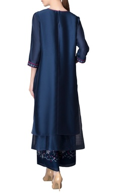 Navy blue kurta & printed culottes