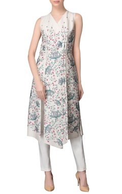 Ivory wrap printed kurta & trousers