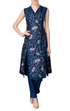navy blue printed kurta & trousers