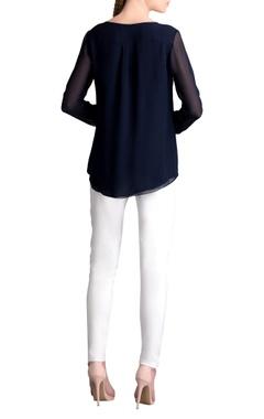 Navy blue embellished shirt