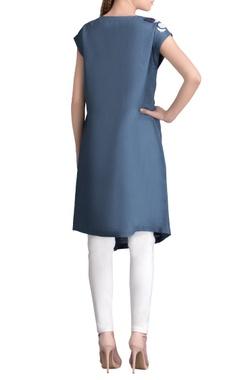 Smokey blue applique work dress