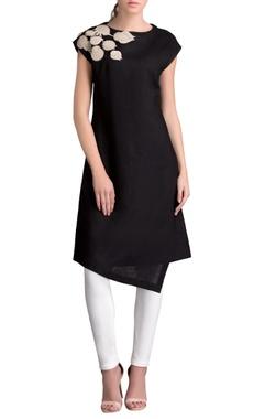 Black linen applique work dress