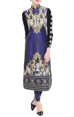 Royal blue printed kurta & leggings