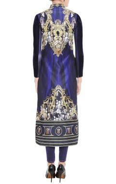 royal blue printed kurta & leggings