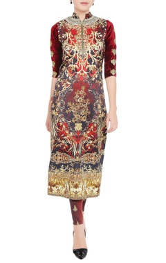 Garnet red printed kurta & leggings
