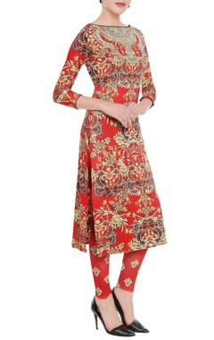 Falguni Shane Peacock Burnt red printed kurta & leggings