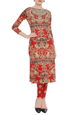 Burnt red printed kurta & leggings