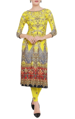 Falguni Shane Peacock Sunflower yellow printed kurta & leggings