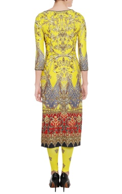 Sunflower yellow printed kurta & leggings