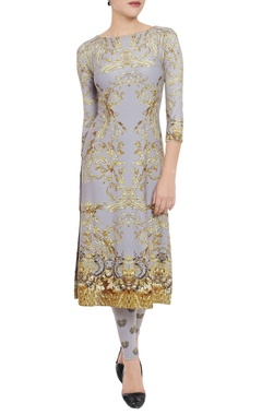 Grey printed kurta & leggings